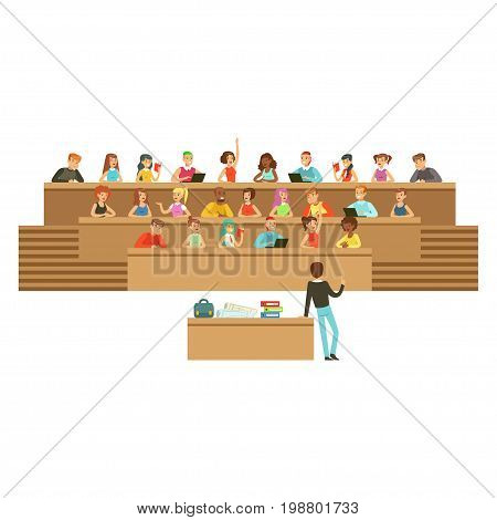 Students listening in a lecture hall in university or college, taking notes, asking questions, high school education vector Illustration on a white background