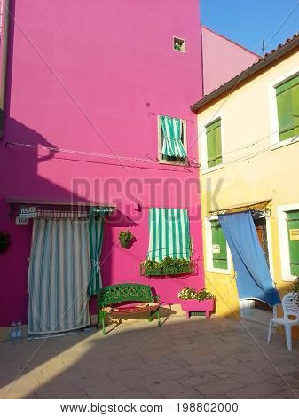 Colorful Rural Buildings Of Island Burano Venice Italy