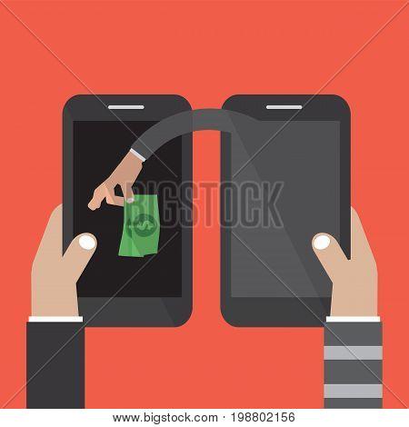 Mobile Banking Money Stealing Vector Illustration. EPS 10