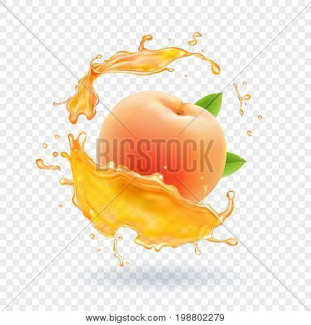 Peach juice. Realistic fresh fruit splash of juice Vector illustration.