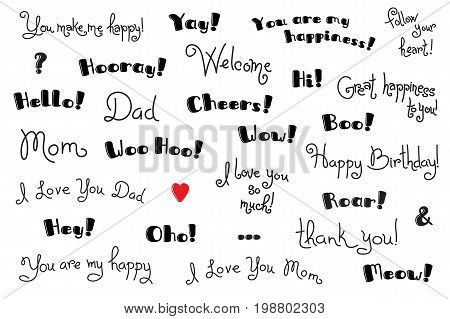 Phrases, Interjections and Exclamation Words for for cover, poster, t-shirt. Greeting card text templates. Vector Set.
