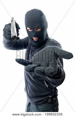 Armed Robber Requires Money And Aims At The Camera