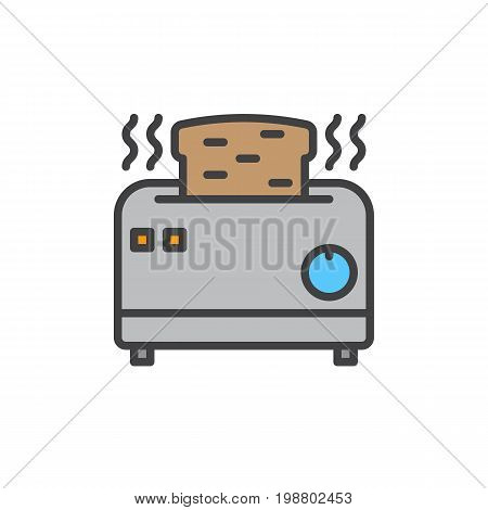 Toaster filled outline icon, line vector sign, linear colorful pictogram isolated on white. Symbol, logo illustration. Pixel perfect vector graphics