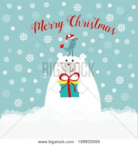 Hand drawn cute polar bear holding gift box kawaii bird in santa clause hat on his head merry christmas text lettering red blue white snowy background greeting card
