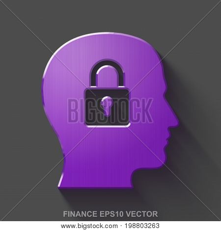 Flat metallic business 3D icon. Purple Glossy Metal Head With Padlock icon with transparent shadow on Gray background. EPS 10, vector illustration.