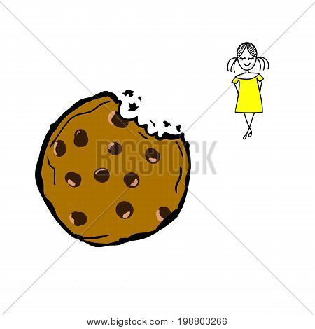 Hand drawn vector doodle chocolate chip bitten cookie brown colored cute little girl shy face expression gilt creative poster card template