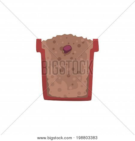 Seed of a bean in a pot with ground soil, stage of growth, pot in a cross section vector Illustration on a white background