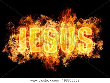 Name Jesus burning in flames on black background