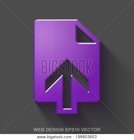 Flat metallic web development 3D icon. Purple Glossy Metal Upload icon with transparent shadow on Gray background. EPS 10, vector illustration.
