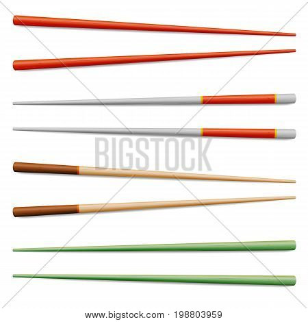 Chopsticks Vector. For Exotic Nutrition, Sushi Restaurant, Sea Food Design. Asian Food Chopsticks Isolated Illustration