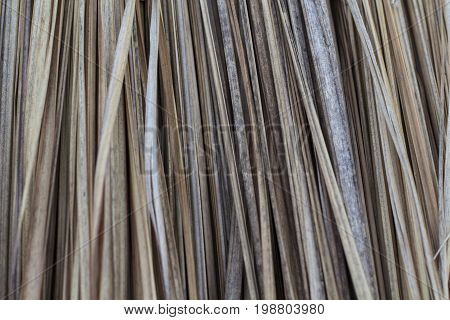 Dry palm leaf roof closeup. Palm roof photo texture. Natural texture of dried plant. Dehydrated hair concept. Asian lifestyle. Tropical island house texture. Rustic house construction. Poor people hut