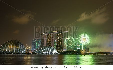 Skyline At Night In Marina Bay, Singapore