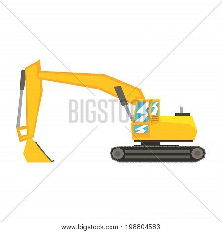 Yellow excavator, heavy industrial machinery, construction equipment vector Illustration on a white background