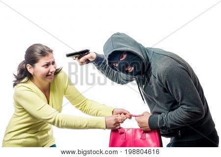 Street Thief In A Balaclava With A Gun Steals A Woman's Bag, Shooting On A White Background