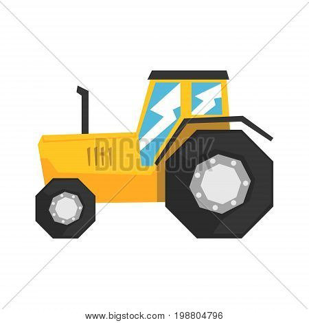 Yellow tractor, heavy agricultural machinery vector Illustration on a white background
