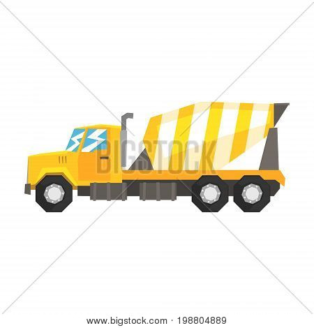 Yellow concrete mixer truck, heavy industrial machinery, construction equipment vector Illustration on a white background