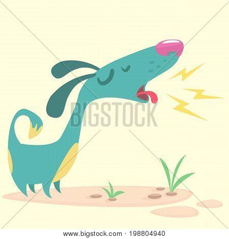 Cartoon Pinscher dog. Vector illustration of barking dog. Blue puppy icon design