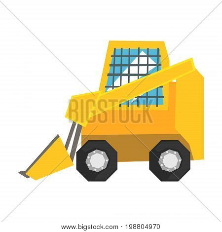 Mini bulldozer with protected windows, skid loader vector Illustration on a white background