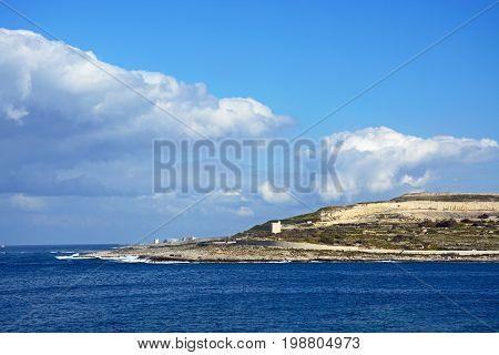 View of the coastline looking East across Salina Bay Bugibba Malta Europe.