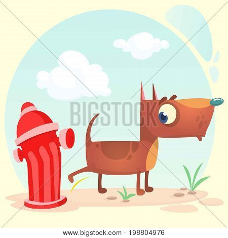 Cartoon funny brown pitbull dog pees on hydrant. Vector illustration