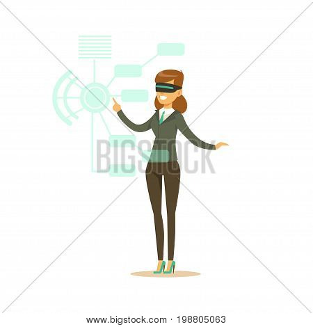 Businesswoman wearing VR headset working in digital simulation, future technology concept vector Illustration on a white background