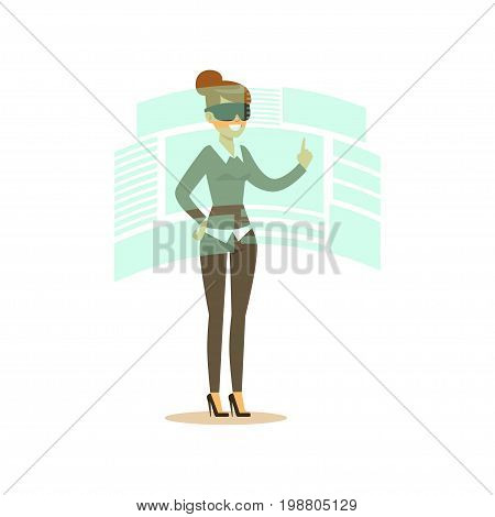 Businesswoman wearing VR headset working in digital simulation and interacting with 3d visualization, future technology concept vector Illustration on a white background