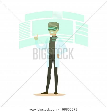 Male scientist wearing VR headset working in digital simulation, future technology concept vector Illustration on a white background