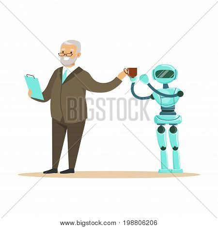 Humanoid robot bringing coffee for a smiling senior man, future technology concept vector Illustration on a white background