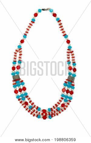 Necklace made of pearls and coral isolated on white background