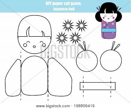 DIY children educational creative game. Make a japanese kokeshi doll with scissors and glue. Printable paprecut activity
