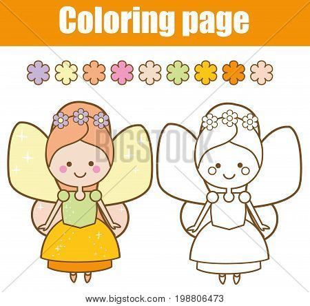 Coloring page with cute winged fairy in kawaii style. Color the picture. Educational children game, drawing kids activity, printable sheet