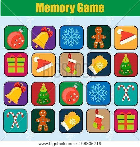 Memory game, Christmas, new year winter holidays theme. Find pairs of same objects. Educational children game, kids activity.