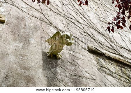 Gargoyle with wings on a wall in the city of Bar le Duc in the department of the Meuse in France