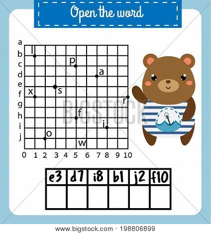 Words puzzle children educational game with coordinate grid. Place the letters in right order. Learning vocabulary. Learning vocabulary worksheet
