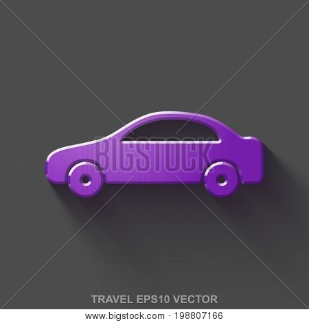 Flat metallic travel 3D icon. Purple Glossy Metal Car icon with transparent shadow on Gray background. EPS 10, vector illustration.