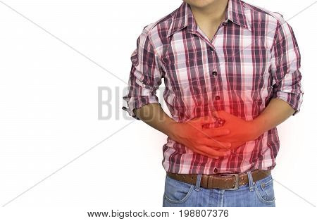 A man have a stomachache isolated on white background concept as healthy and weakness
