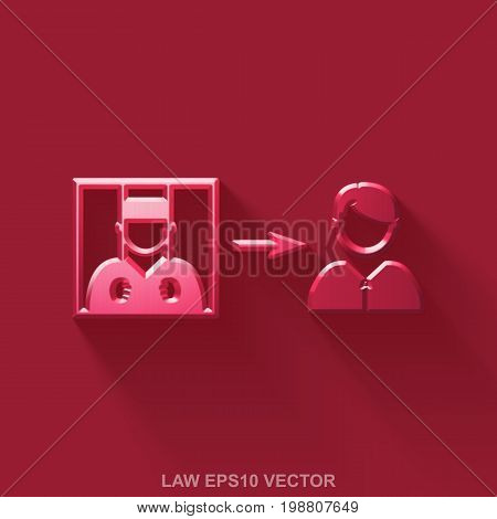 Flat metallic law 3D icon. Red Glossy Metal Criminal Freed icon with transparent shadow on Red background. EPS 10, vector illustration.