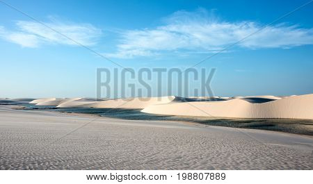 Lencois Maranhenses National Park, Brazil, Low, Flat, Flooded Land, Overlaid With Large, Discrete Sa