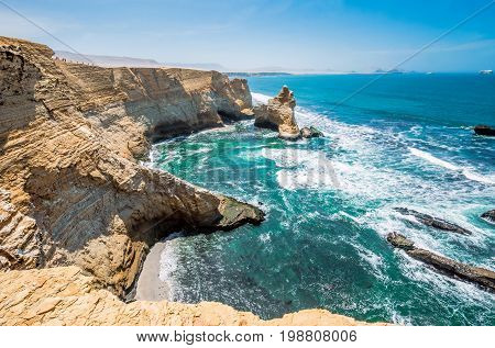 Cathedral Rock Formation, Peruvian Coastline, Rock Formations At The Coast, Paracas National Reserve