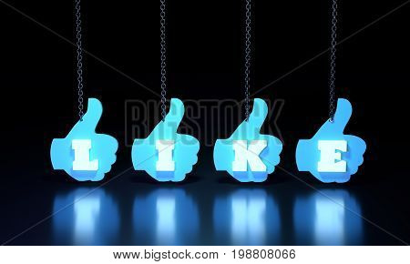 Hand showing symbol Like hanging from a chain. Making thumb up gesture. Sign for web poster. Neon shine like text. 3D rendering
