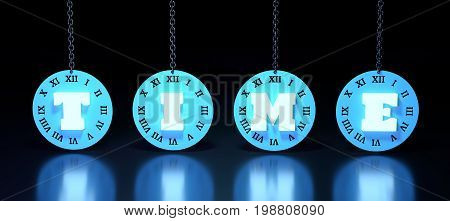 Time text on clock face with Roman numerals hanging from a chain. 3D rendering