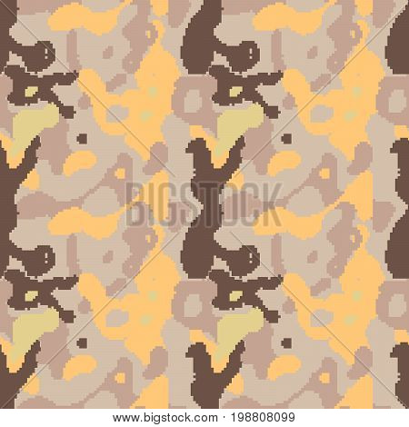 Pixelated camouflage seamless pattern to disguise in desert