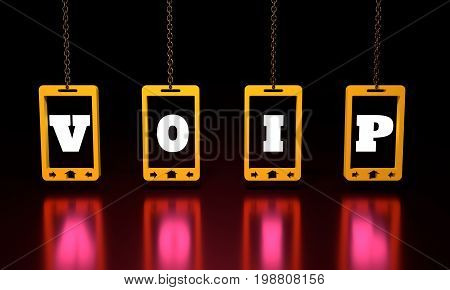 VOIP text on abstract phone screen hanging from a chain. 3D rendering