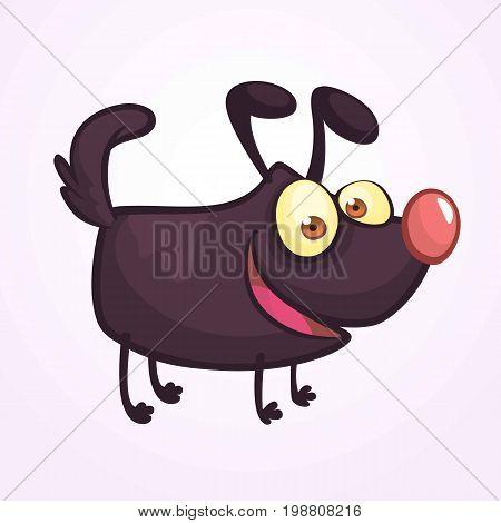 Cute Cartoonblack Dog. Vector Illustration on white background for design sticker icon or book illustration