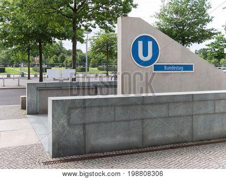 BERLIN GERMANY - AUGUST 4 2017: Entrance To Metro Station Bundestag In Berlin