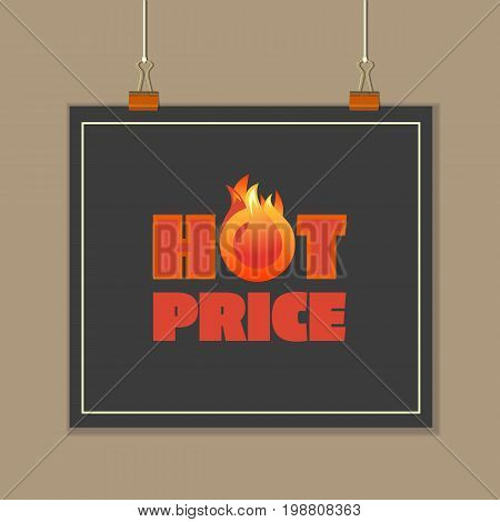 Hot sale price offer concept. Design idea for banner, flyer or brochure for discount campaign advertisement, event promotion or department store. Text hot price with red flame. Vector illustration