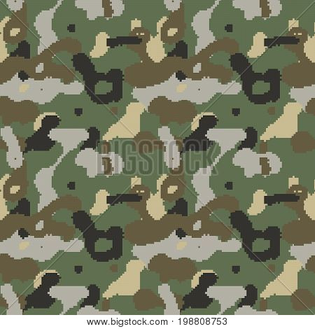 Pixelated camouflage seamless pattern to disguise in forest