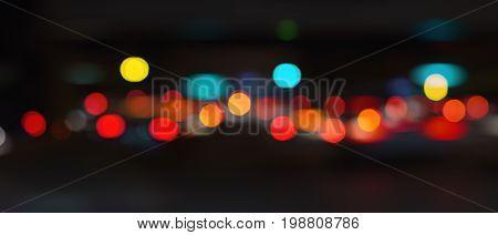 Panorama image of bstract urban night light bokeh background