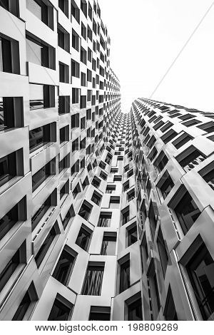 Modern Building Exterior In Black And White