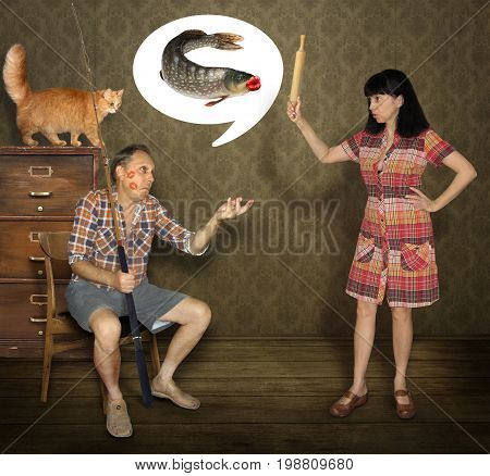 The wife strongly scolds her fisherman husband.